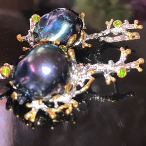 Spectacular and Rare Black Baroque Pearl Earrings